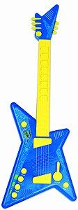 Guitarra Infantil Rock Star C/ Microfone E Luz - Azul - Zoop