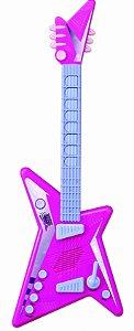 Guitarra Infantil Rock Star C/ Microfone E Luz - Rosa - Zoop