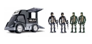 Carrinho Polícia Base Móvel Tática C/ Soldados - Samba Toys