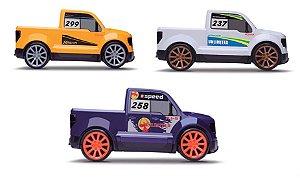 3 Carrinhos Pick Up Roda Livre 21cm - 1:24 Next Race - Roma