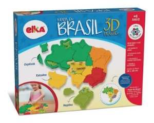 Quebra Cabeça 3d Mapa Do Brasil - Plástico - Elka