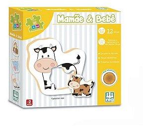 Quebra Cabeça Mamãe E Bebê - C/ 12 Peças Em Madeira - Nig