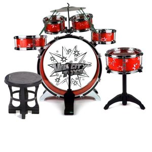 Bateria Infantil c/ Banco - 5 tambores e 1 prato - Zoop Toys