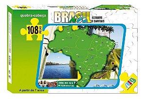 Quebra Cabeça Mapa Do Brasil - C/ 108 Peças - Nig