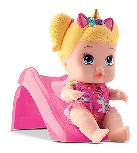 Boneca Little Dolls Playgrond Escorregador Menina- Divertoys