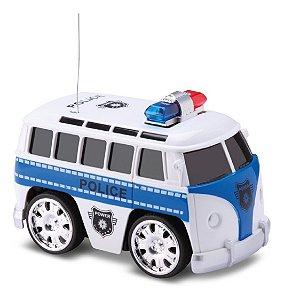 Kombi Polícia - C/ Controle Remoto E Luz - 15cm - Samba Toys