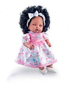 Boneca Angelina - Negra - C/ Mamadeira Fala 62 Frases - Milk