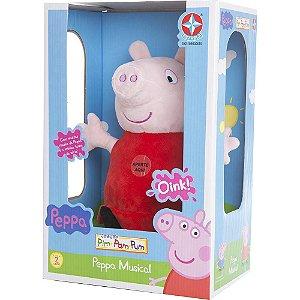 Boneca Peppa Pig C/Som - Cabeça Vinil Corpo Pelúcia- Estrela