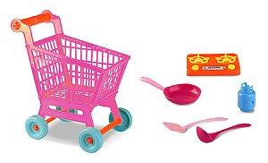 Carrinho de Compras Mercado Infantil C/ Fogão - 30cm - Zoop