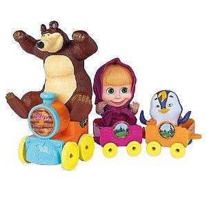 Trenzinho Masha e o Urso - C/ 3 Figuras - Original- Cotiplás