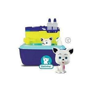 Maleta Pet Shop Banho - Gatinho C/ Acessórios - Azul - Roma