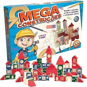 Mega Construções - Blocos de Madeira - 200 Peças - P e F