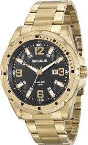 Relógio Seculus Masculino Dourado 20575gpsvda3