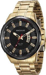Relógio Masculino Seculus Dourado 23576gpsvha1