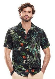 Camisa Masculina c/ Frente Aberta e Estampa de Folhagens