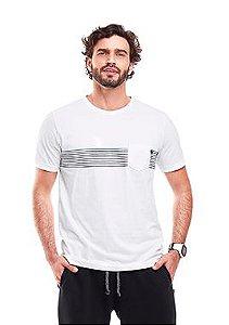Camiseta Masculina Branca com Listras