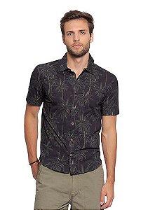 Camisa Masculina Full Print com Estampa de Palmeiras