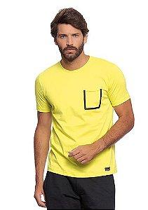 Camiseta Masculina Amarela c/ Bolso