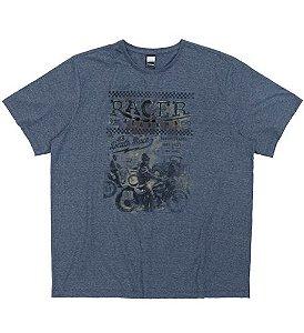 Camiseta Plus Size Azul Escuro c/ Estampa Racer