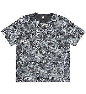 Camiseta Plus Size Masculina c/ Estampa de Folhas