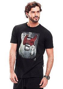 Camiseta Masculina Preta c/ Estampa Guitarra