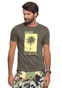 Camiseta Masculina Verde c/ Estampa de Coqueiro