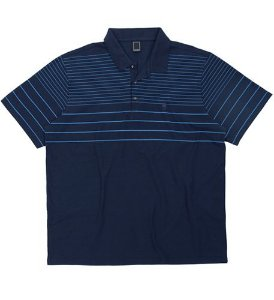 Camisa Polo Plus Size Azul c/ Listras