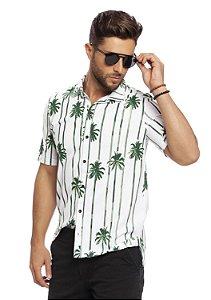 Camisa Polo Masculina Tropical com Abertura Frontal