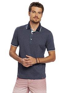 Camisa Polo Marinho em Meia Malha com Texturas
