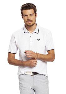 Camisa Polo Masculina  Piquet Branca Bordada