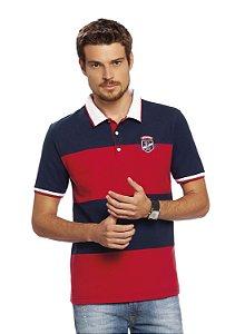 Camisa Polo Masculina Listrada com recortes e aplique.