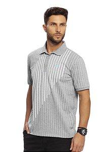 Camisa Polo Masculina Piquet Mescla listras verticais