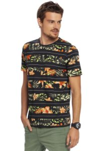 Camiseta Masculina Estampa Tropical Full Print