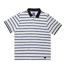 Camisa Polo Masculina Plus Size Listrada Cinza e Azul