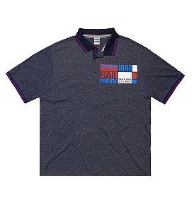 Camisa Polo Masculina Plus Size Estampa Localizada no Peito