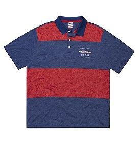 Camisa Polo Masculina Plus Size com Recortes Horizontais