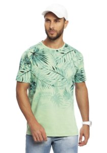 Camiseta Masculina Tropical Estampada Verde