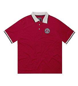Camisa Polo Masculina Plus Size Vermelha com aplicação de bordado