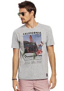 Camiseta Malha Mescla Estampa Verão Califórnia