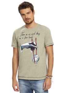 Camiseta Masculina Mescla Estampa Cuide do Planeta