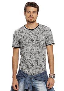 Camiseta Masculina em Mescla Full Print Folhagesn
