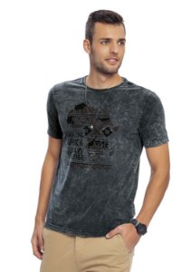 Camiseta Adulta Masculina Estonada Estampa Étnica