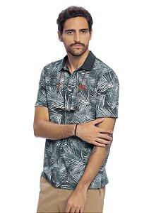 Camisa Polo Masculina Full Print Folhagens Tropical