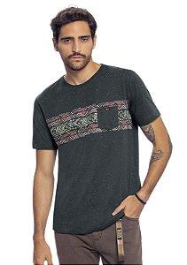 Camiseta Masculina Malha Botonê Estilo Étnico