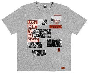 Camiseta Plus Size Masculina Malha Mescla Biker