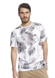 Camiseta Masculina Estampa Folhagens