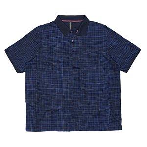 Camisa Polo Masculina Plus Size Marinho com Listras em Textura