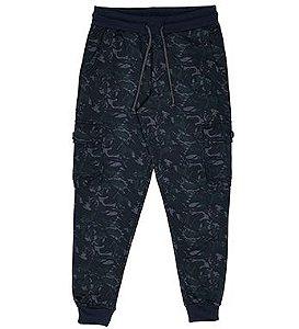 Calça Masculina Jogger em Moletom Camuflada na cor Marinho