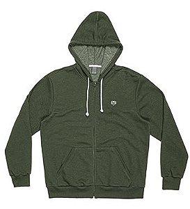 Blusão Masculino Plus Size em Moletom Flamê na cor Verde Militar