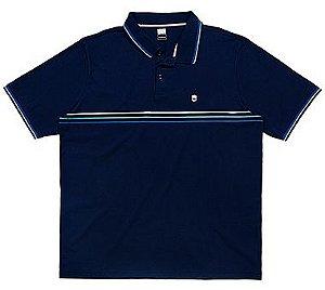 Camisa Polo Plus Size com Listras